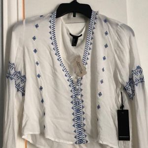 NWT FOREVER 21 Boho Flowy Blouse- semi crop top